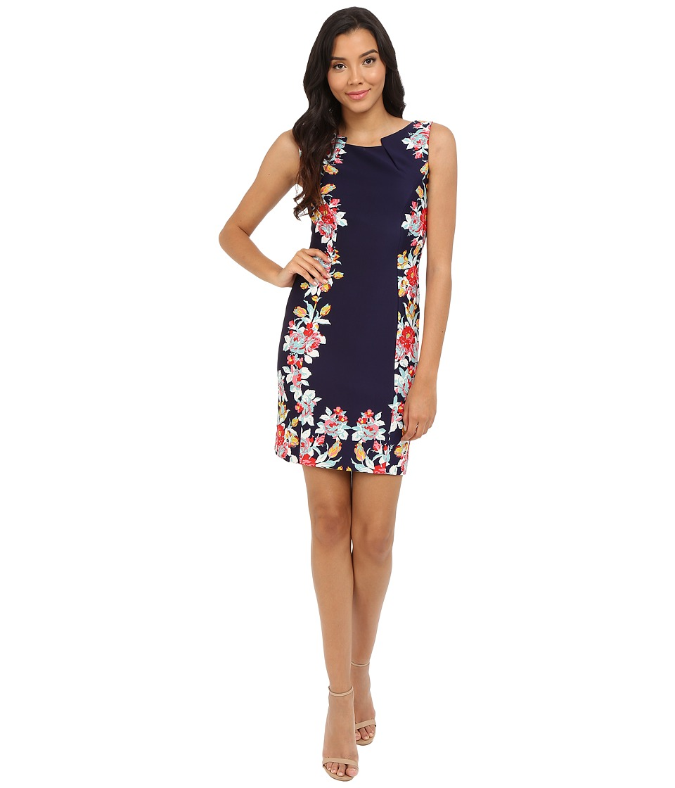 Tahari by ASL Vicky P Knit Dress Navy/Hibiscus Womens Dress