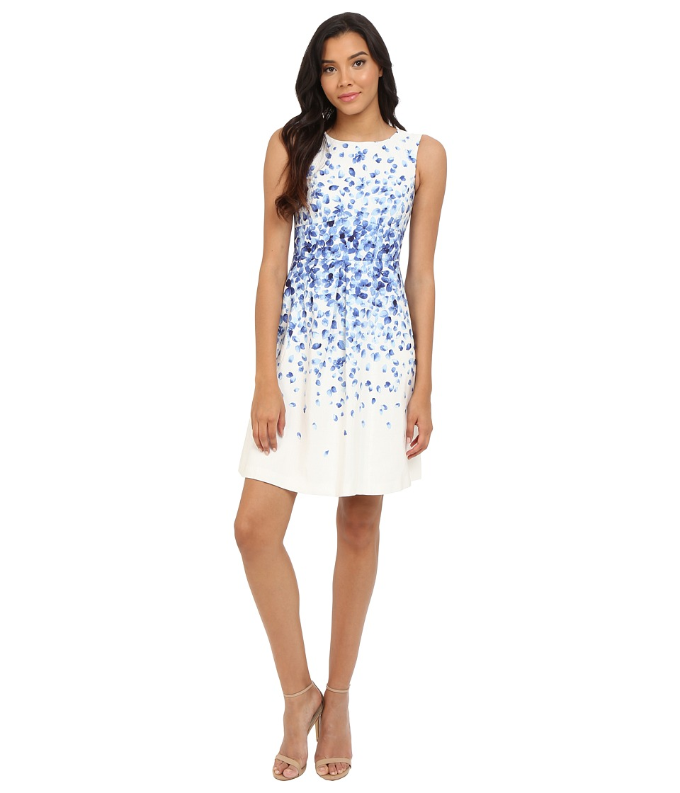 Tahari by ASL Valerie T Dress Ivory/French Blue Womens Dress