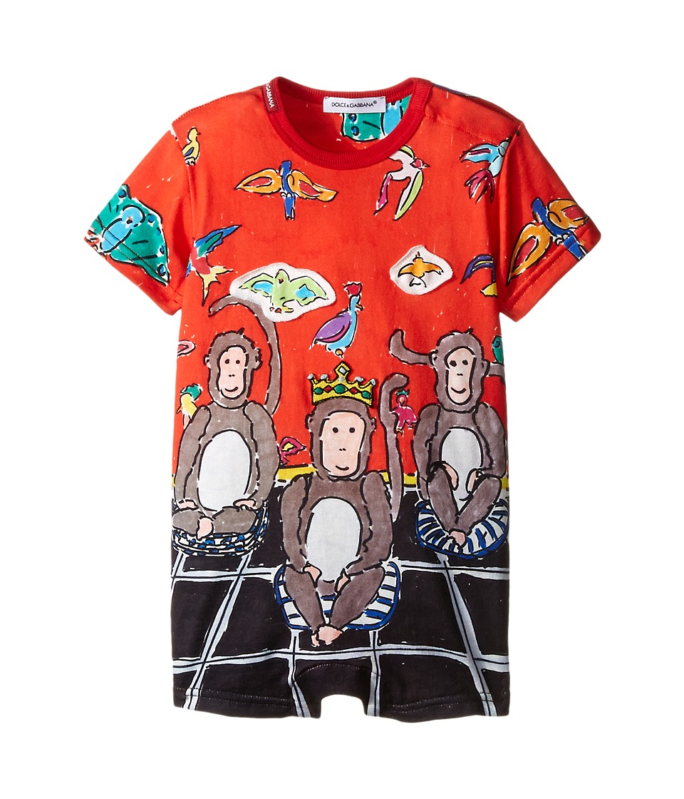 Dolce amp Gabbana Kids 3 Monkeys One Piece Infant Red Monkey Boys Jumpsuit Rompers One Piece