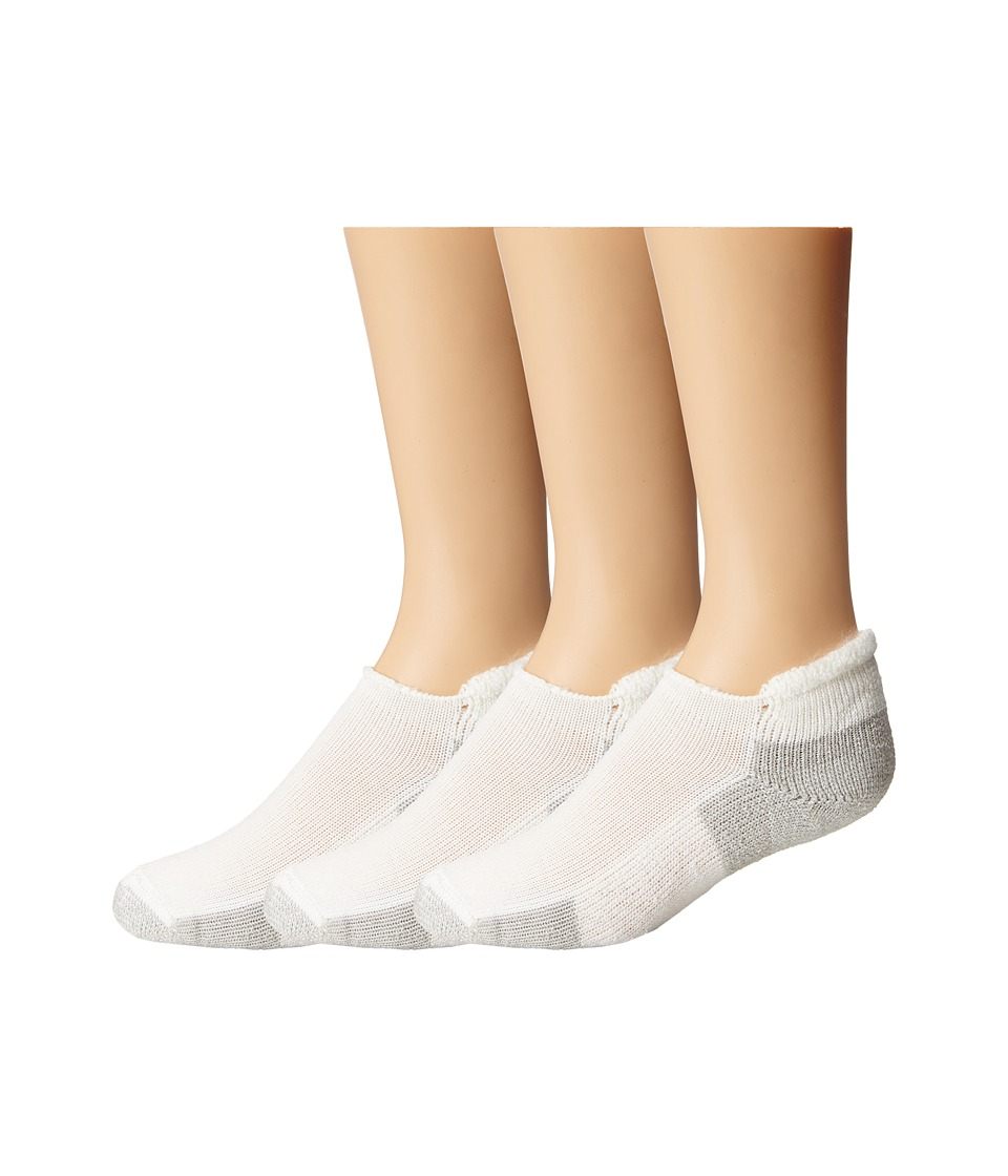 Thorlos - Running Rolltop 3-Pair Pack (White/Platinum) No Show Socks Shoes