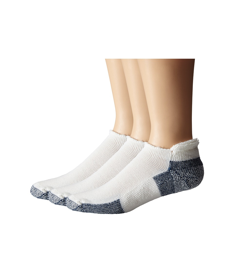 Thorlos - Running Rolltop 3-Pair Pack (White/Navy) No Show Socks Shoes
