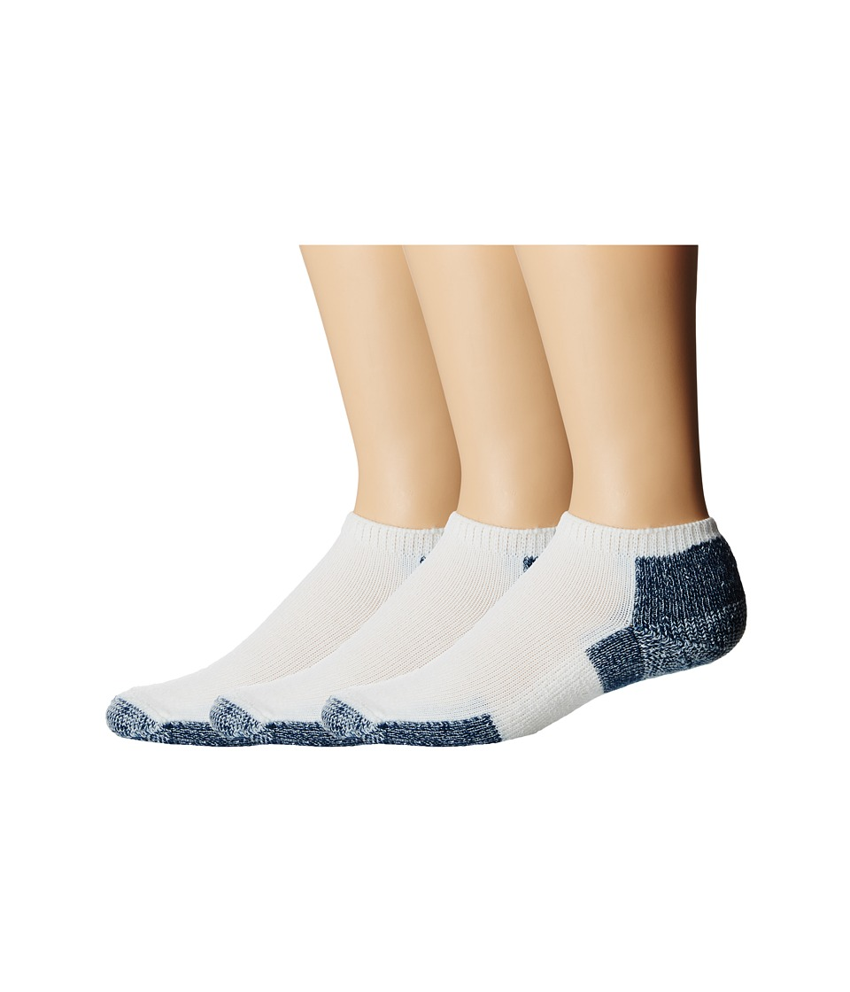 Thorlos Running Micro Mini Crew 3 Pair Pack White/Navy Low Cut Socks Shoes