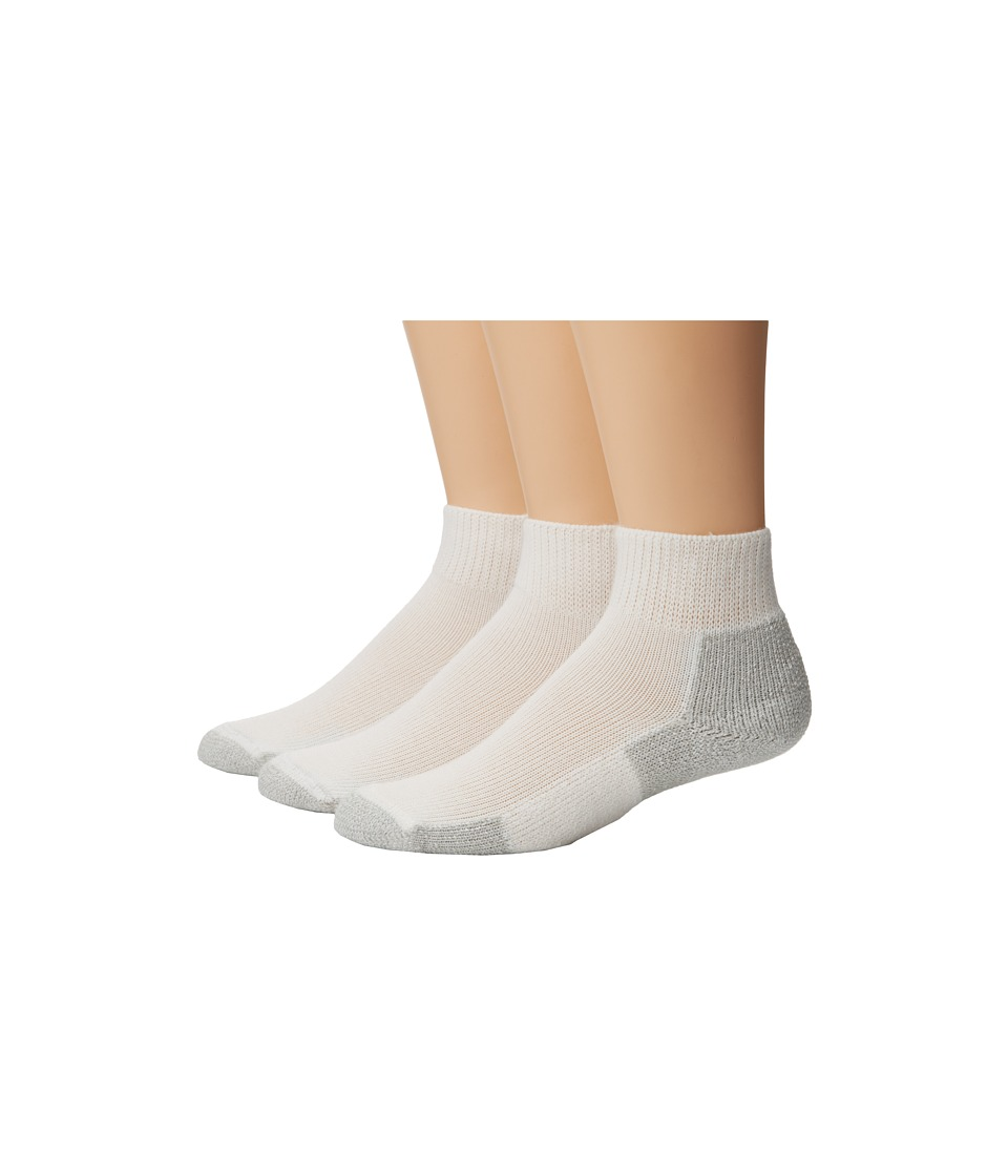 Thorlos - Running Mini-Crew 3-Pair Pack (White/Platinum) Quarter Length Socks Shoes