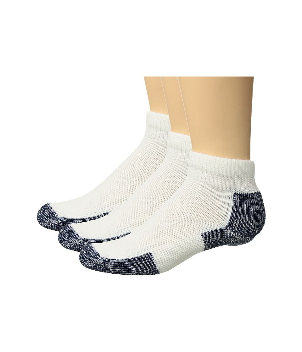 Thorlos - Running Mini-Crew 3-Pair Pack (White/Navy) Quarter Length Socks Shoes