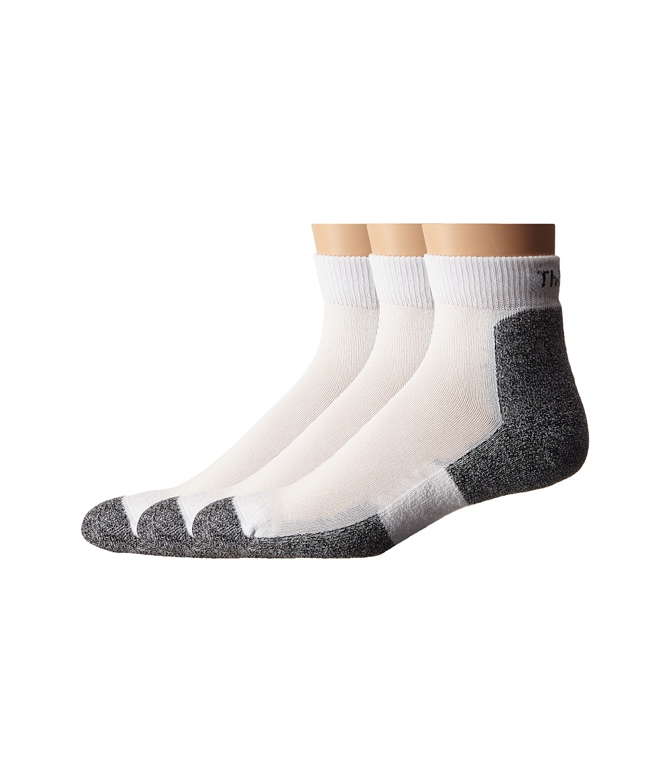 Thorlos - Lite Running Mini-Crew 3-Pair Pack (White) Mens Quarter Length Socks Shoes