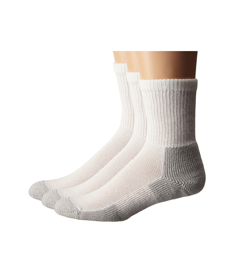 Thorlos - Running Crew 3-Pair Pack (White/Platinum) Crew Cut Socks Shoes