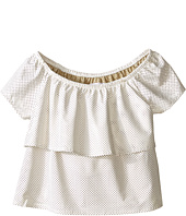 Ella Moss Girl - Nina Short Sleeve Ruffle Faux Leather Top - Unlined (Big Kids)