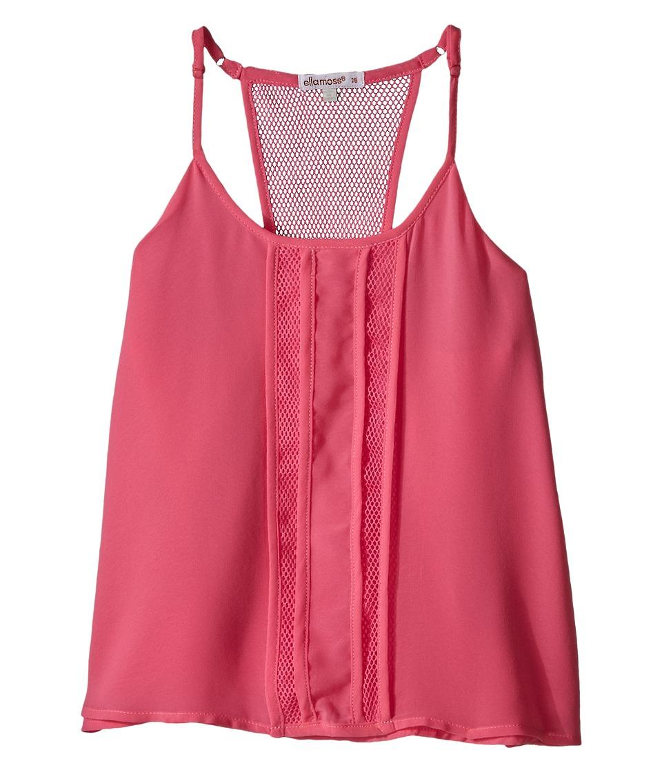 Ella Moss Girl Beverly Pleated Woven Tank Top Big Kids Pink Girls Sleeveless