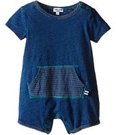Splendid Littles - Indigo Short Sleeve Romper with Striped Kangaroo Pocket (Infant)