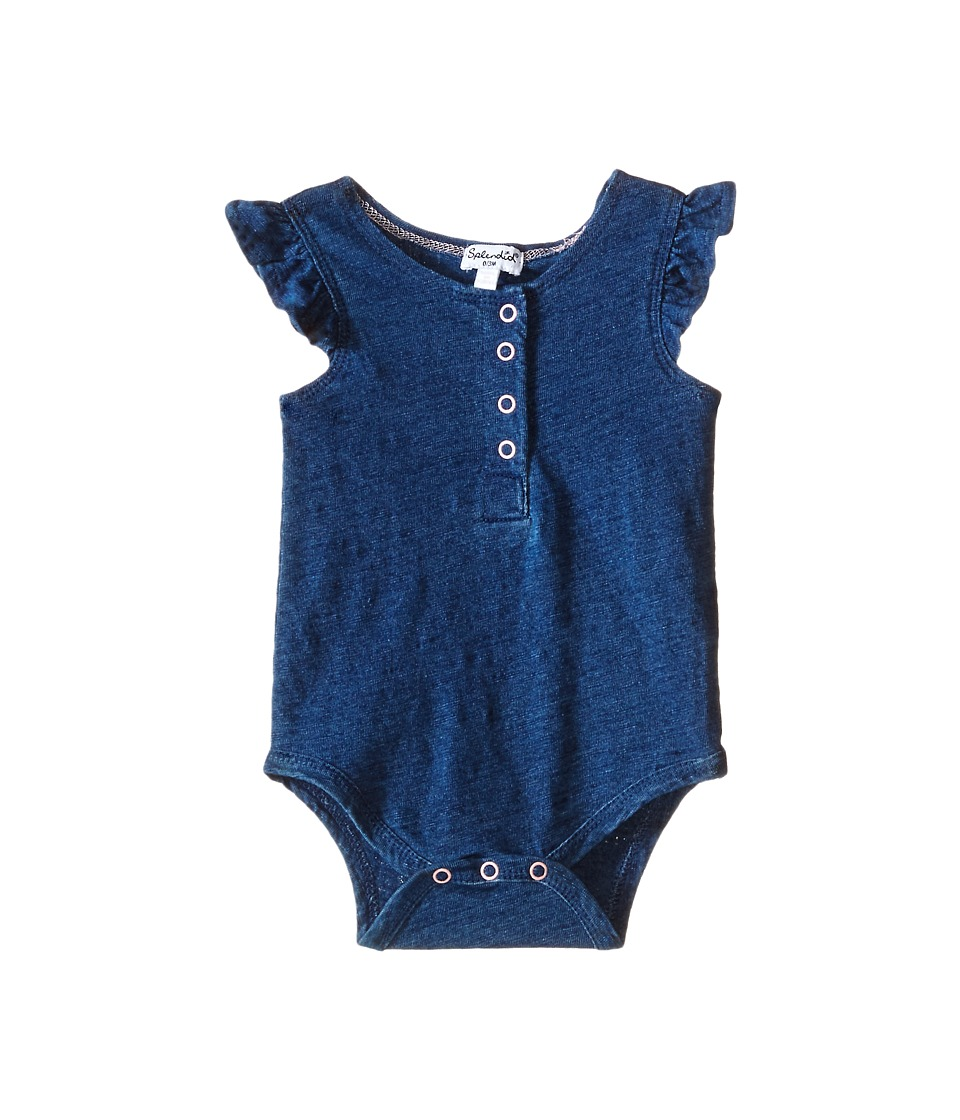 Splendid Littles - Indigo Henley Ruffled Sleeve Bodysuit