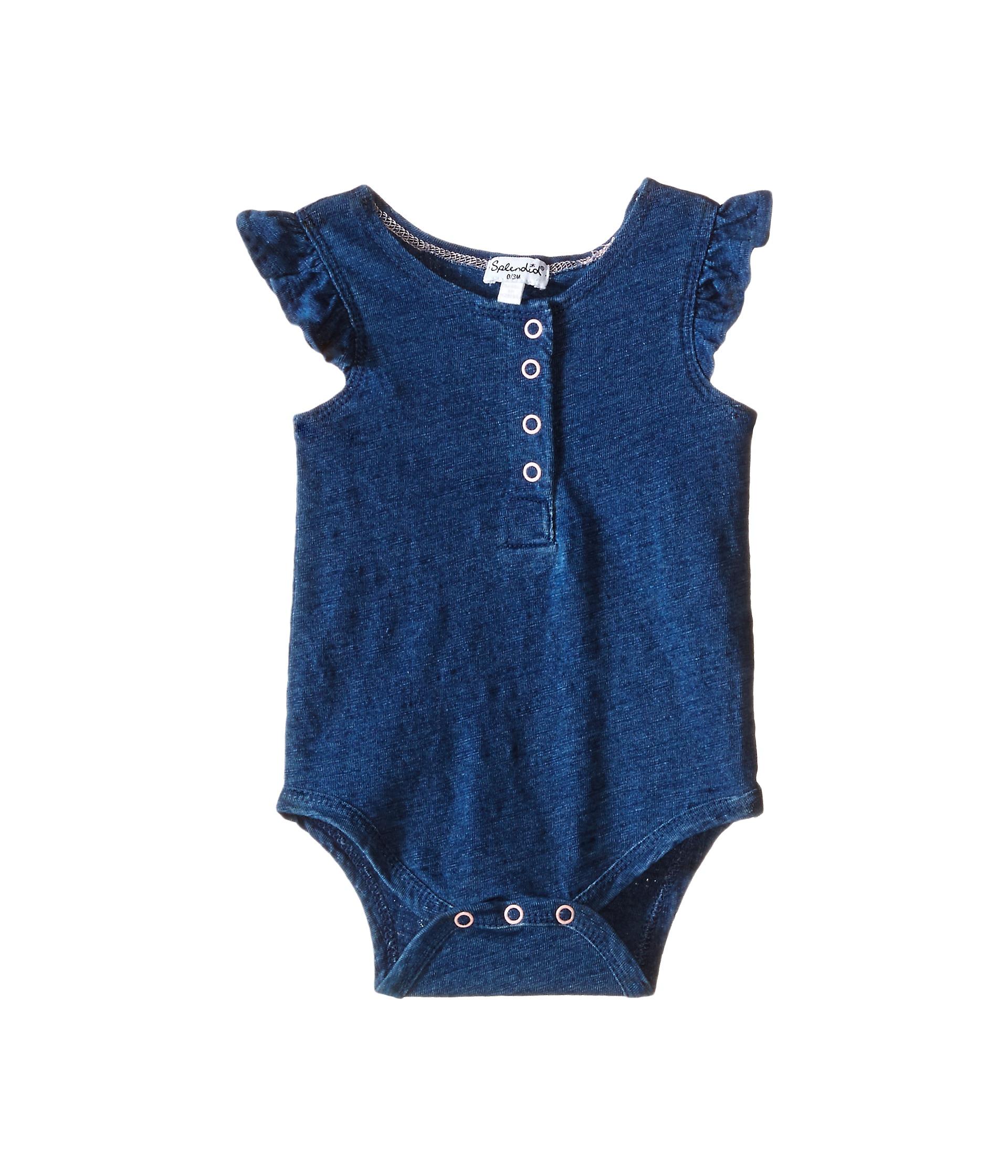 Splendid littles indigo henley ruffled sleeve bodysuit for Splendid infant