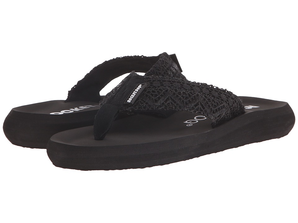 Rocket Dog Spotlight Comfort Black Lima Crochet Womens Sandals