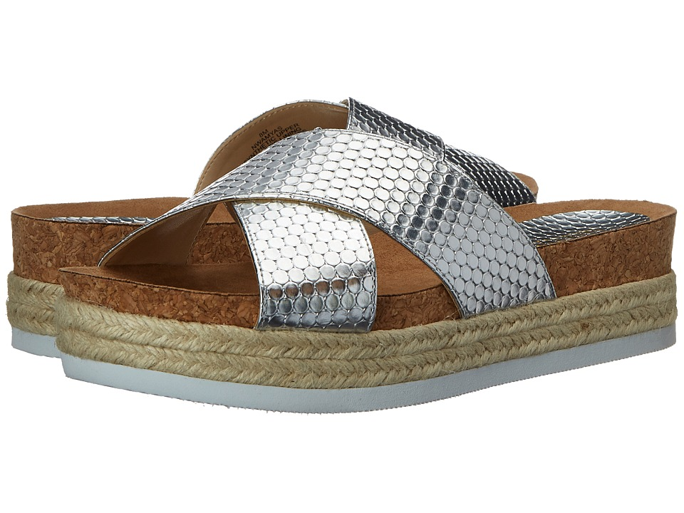 Nine West Amyas Silver Synthetic Womens Slide Shoes