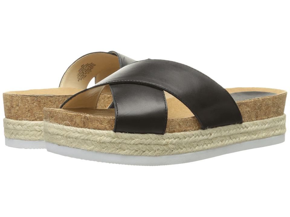 Nine West Amyas Black Leather Womens Slide Shoes