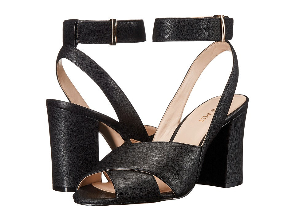 Nine West Blanche Black Leather High Heels