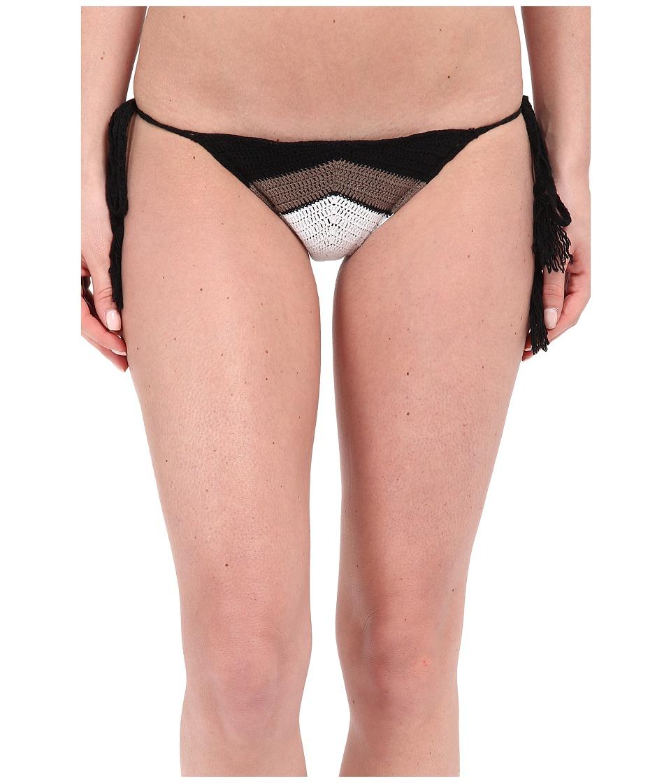 Vitamin A Swimwear Nightbird Tie Side Bottoms Black/Taupe/White Womens Swimwear