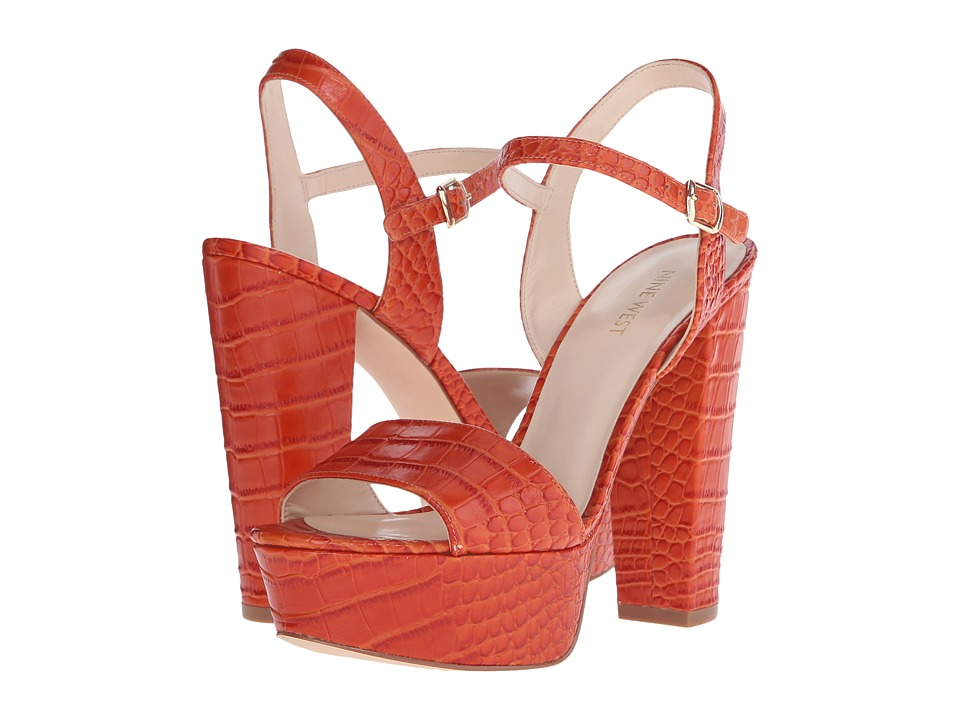 Nine West Carnation Red Orange Croco High Heels