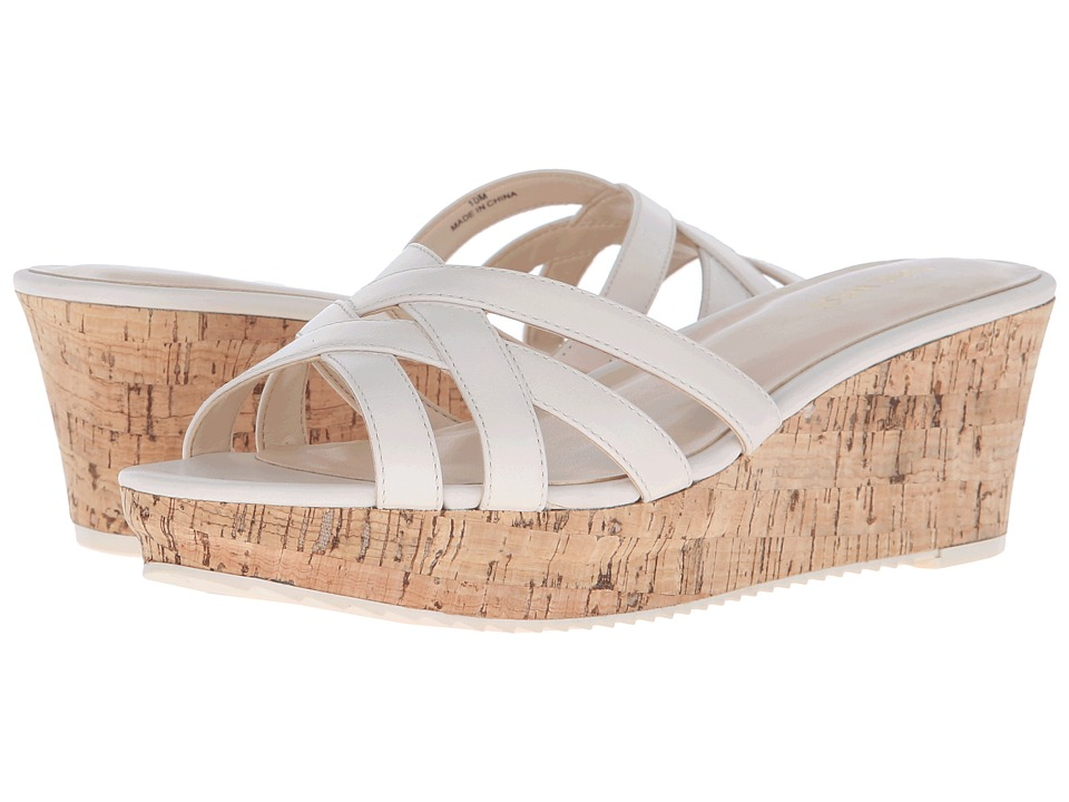 Nine West Caserta Off White Leather Womens Wedge Shoes