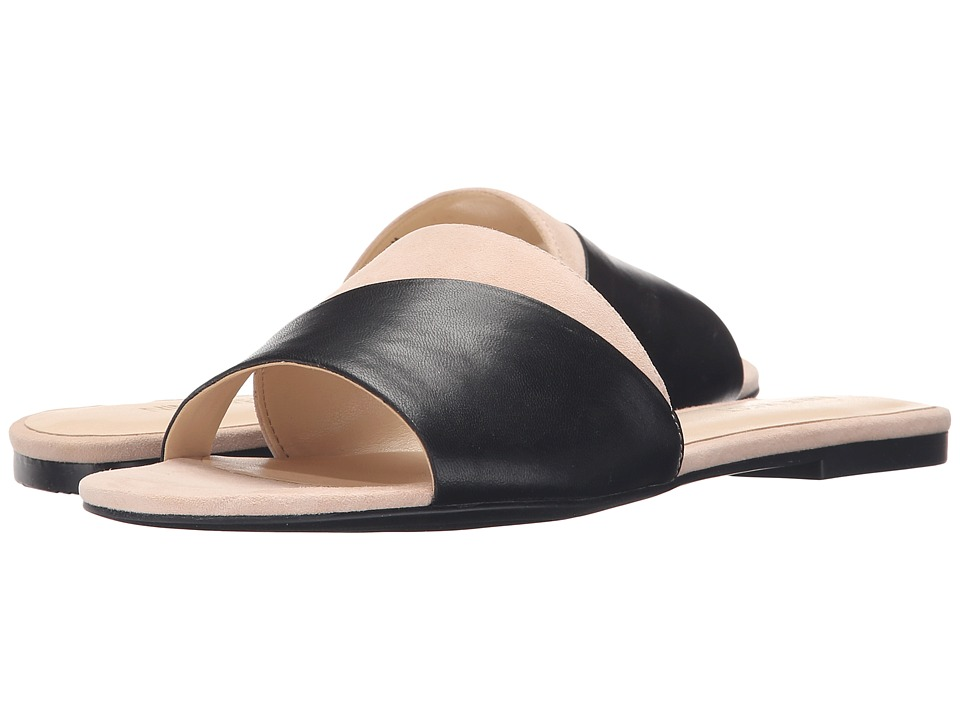 Nine West Dante Black/Light Natural Leather Womens Slide Shoes