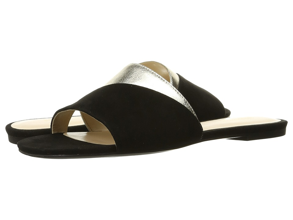 Nine West Dante Black/Light Gold Suede Womens Slide Shoes