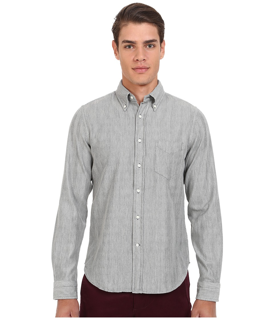 Gant Rugger R. Herringbone Twill Hugger Fit Oxford Button Down Dark Graphite Mens Clothing