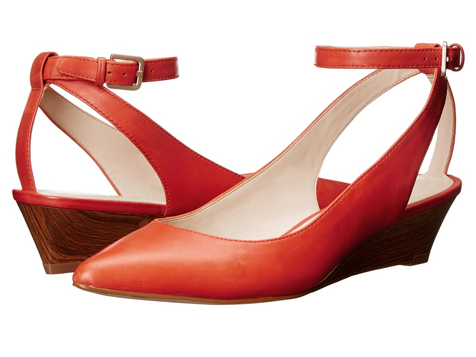 Nine West Edith Red Orange Leather Womens Shoes