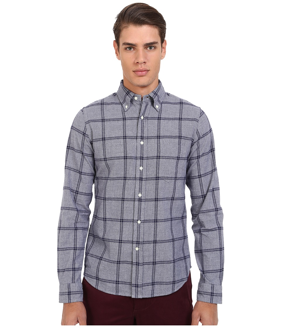 Gant Rugger R. Melange Dobby Hugger Fit Oxford Button Down Persian Blue Mens Long Sleeve Button Up