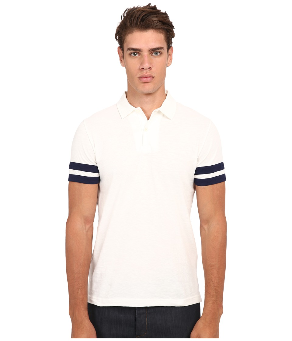 Gant Rugger R. Sleevestripe Slub Polo Off White Mens Short Sleeve Pullover