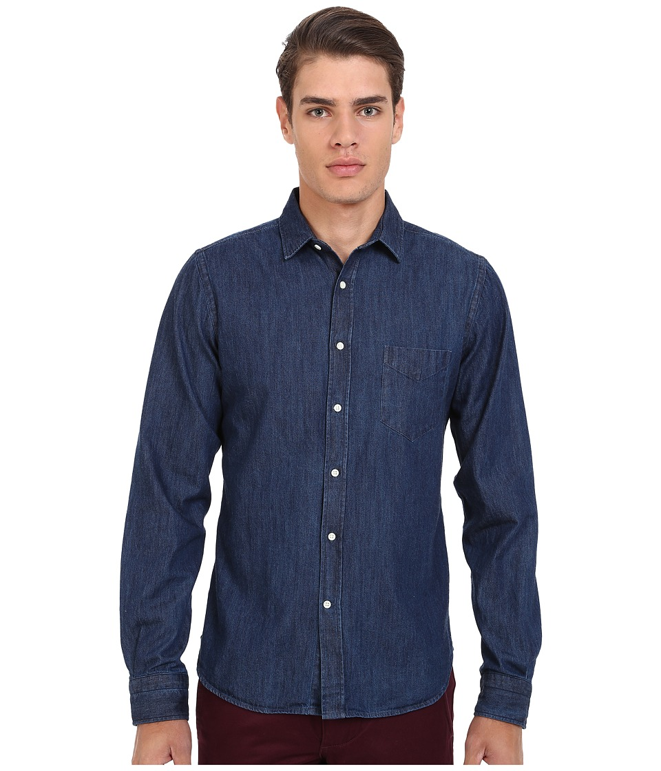 Gant Rugger R. Indigo Denim Town Collar Mid Blue Mens Long Sleeve Button Up