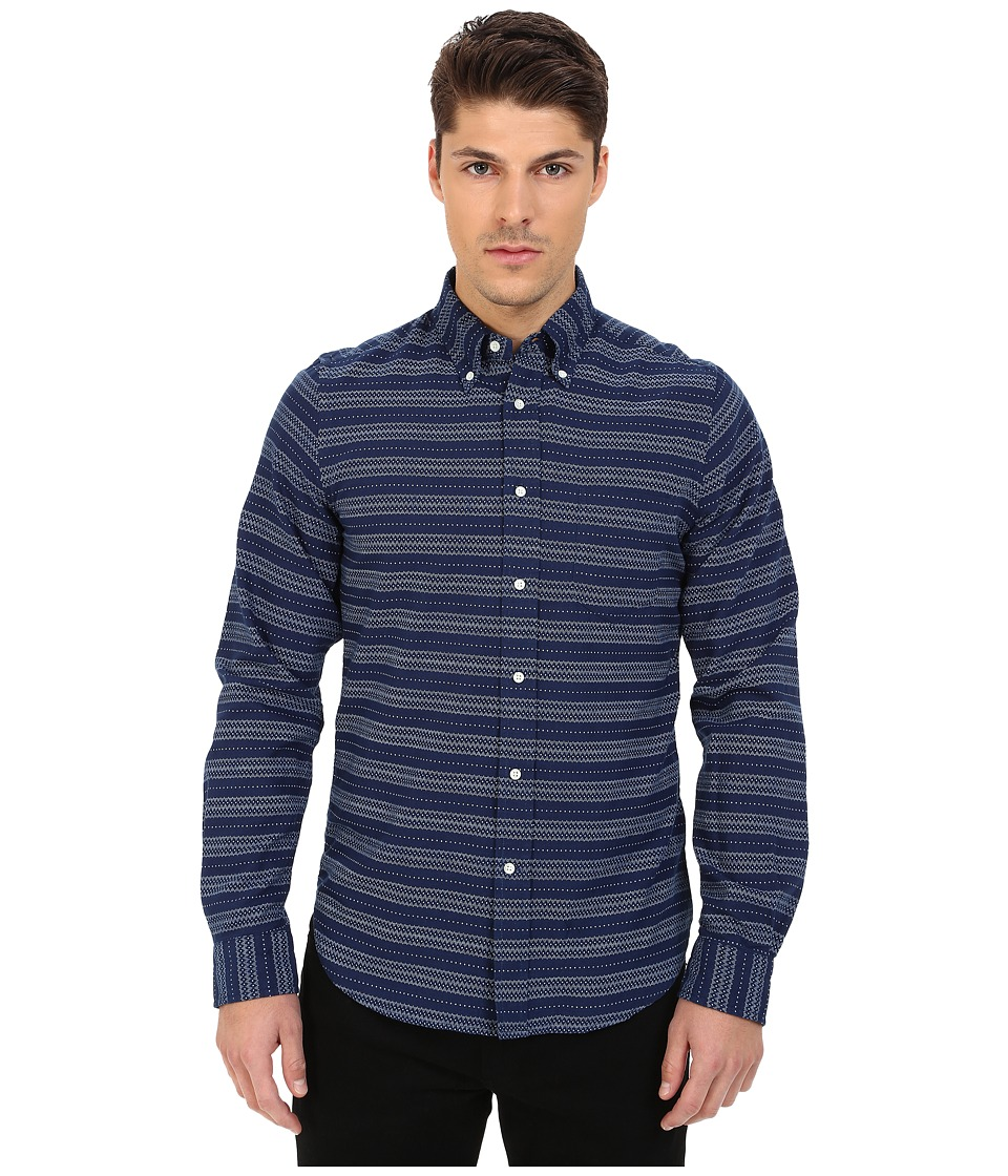 Gant Rugger R. Printed Indigo Oxford Hugger Fit Oxford Button Down Dark Indigo Mens Clothing
