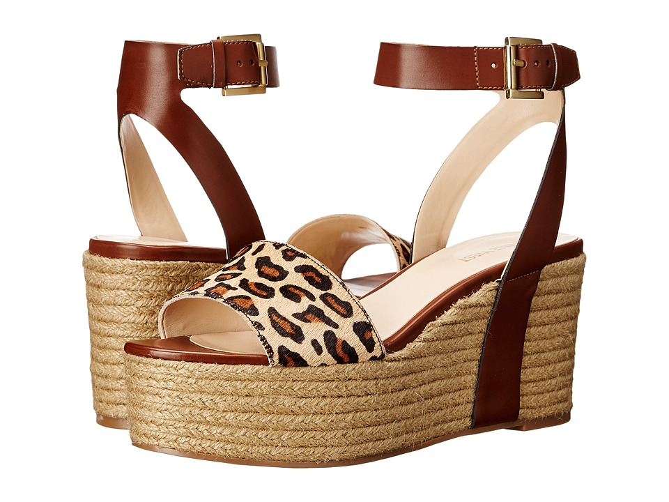 Nine West Edoile Cognac/Natural Multi Synthetic Womens Wedge Shoes
