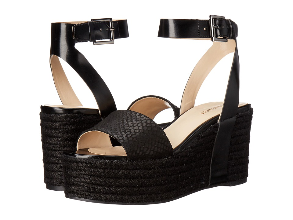 Nine West Edoile Black/Black Synthetic Womens Wedge Shoes