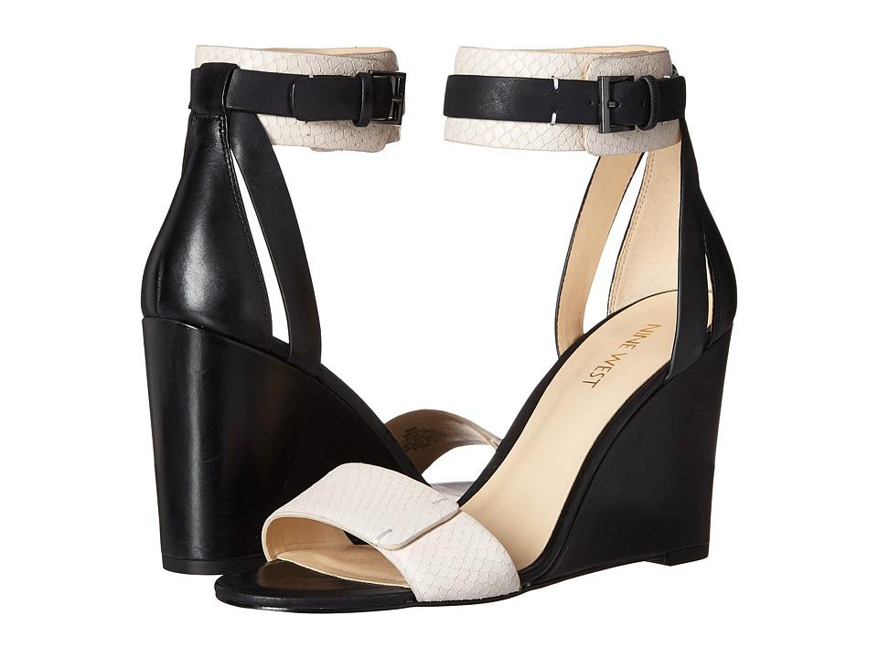 Nine West Finula Black/Off White Leather Womens Wedge Shoes