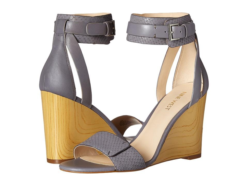 Nine West Finula Grey/Grey Leather Womens Wedge Shoes