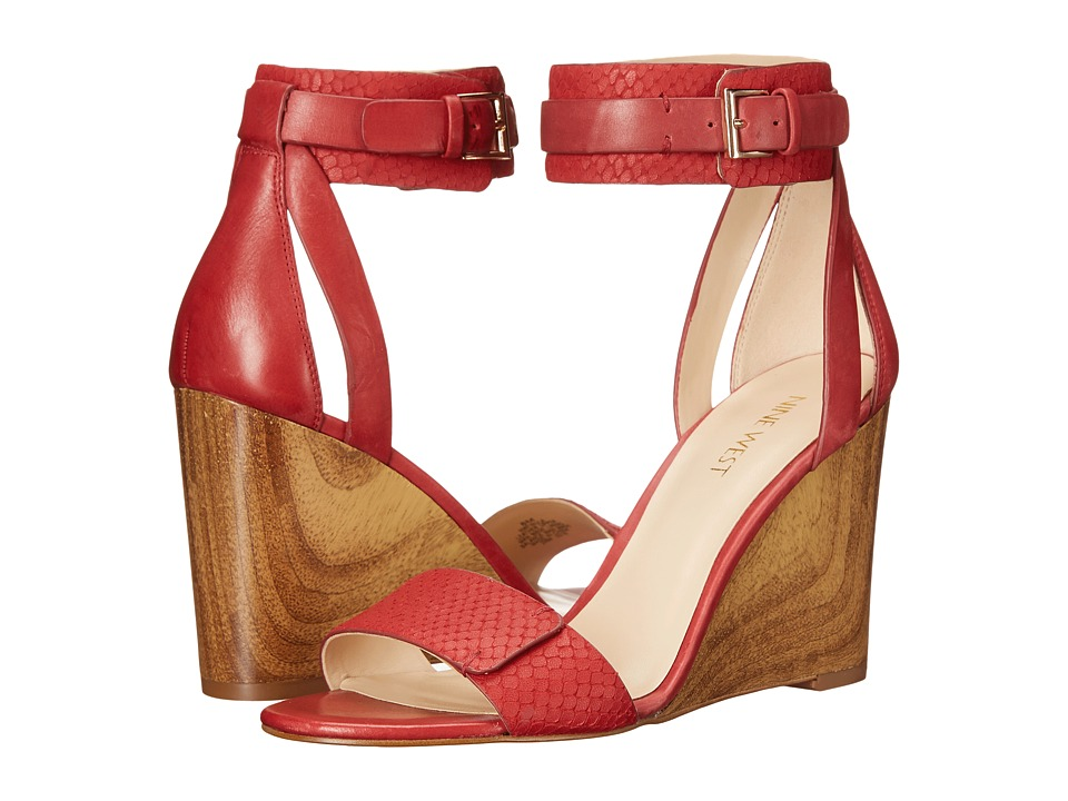 Nine West Finula Red/Red Leather Womens Wedge Shoes