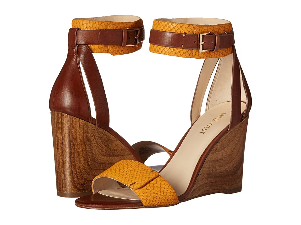 Nine West Finula Cognac/Dark Yellow Leather Womens Wedge Shoes