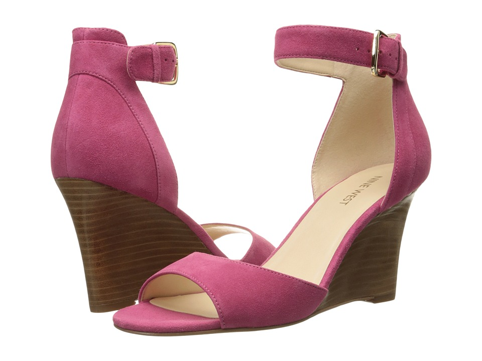 Nine West Farlee Dark Pink Nubuck Womens Wedge Shoes