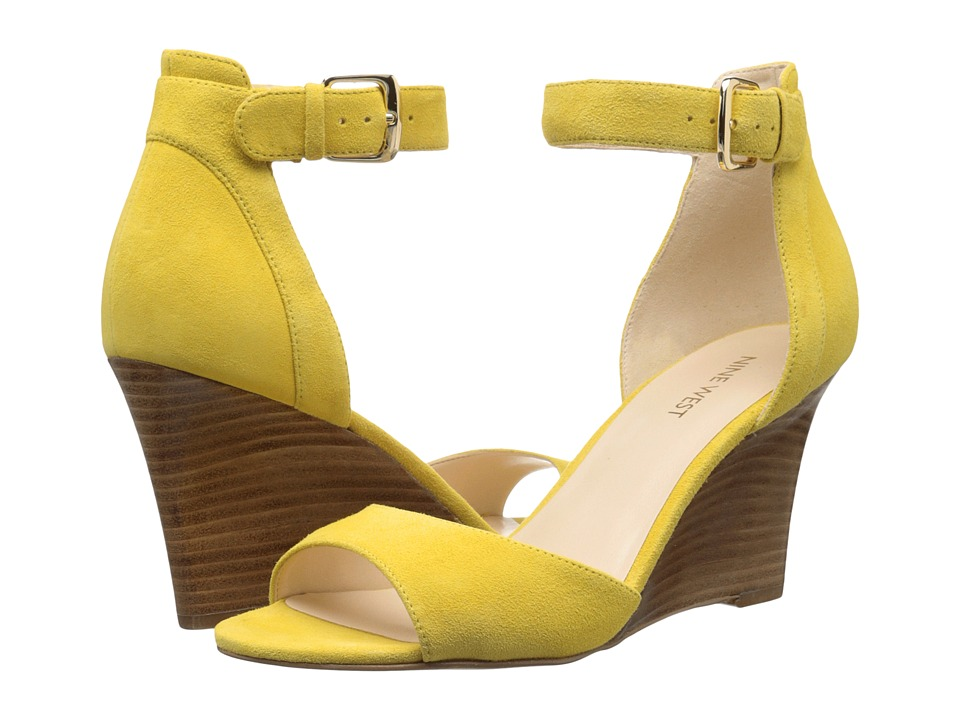 Nine West Farlee Yellow Nubuck Womens Wedge Shoes
