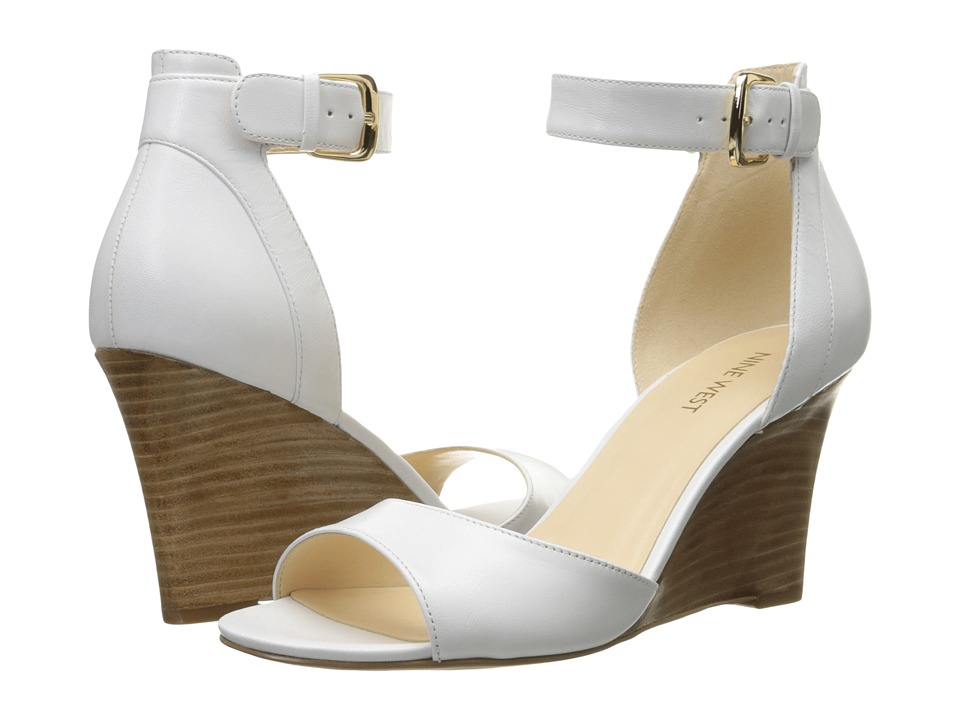 Nine West Farlee White Leather Womens Wedge Shoes