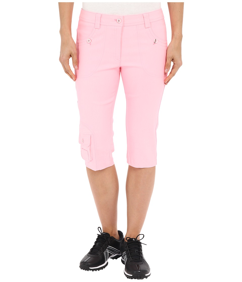 Jamie Sadock Fly Front 24 Knee Capris Doll Face Pink Womens Capri