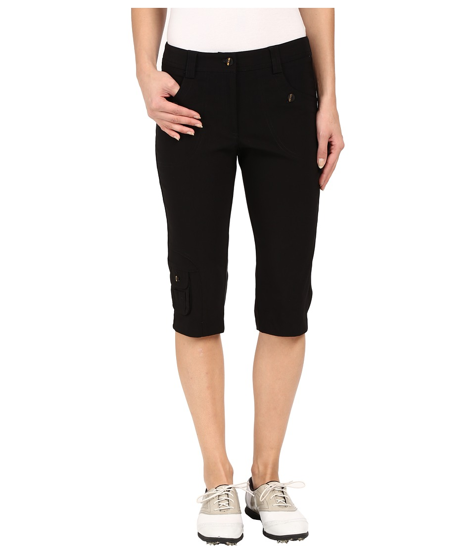 Jamie Sadock Fly Front 24 Knee Capris Black with Gold Zippers Womens Capri