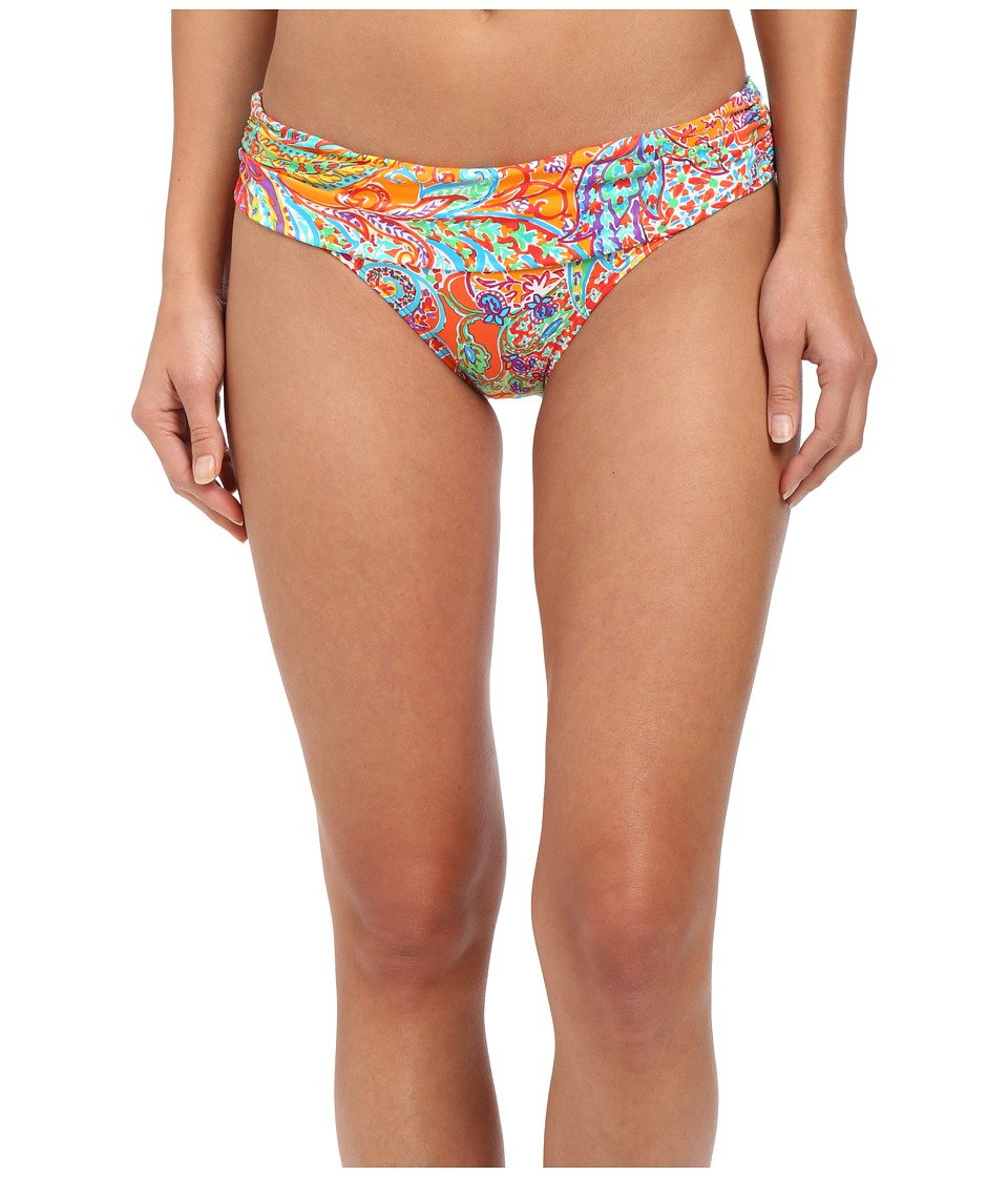 LAUREN Ralph Lauren Maharaja Shirred Band Hipster Bottoms Coral Womens Swimwear