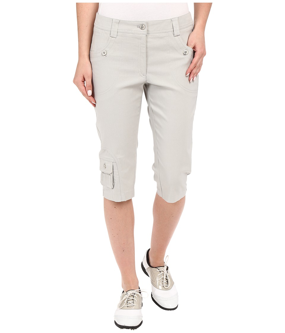 Jamie Sadock Fly Front 24 Knee Capris Dove Grey Womens Capri