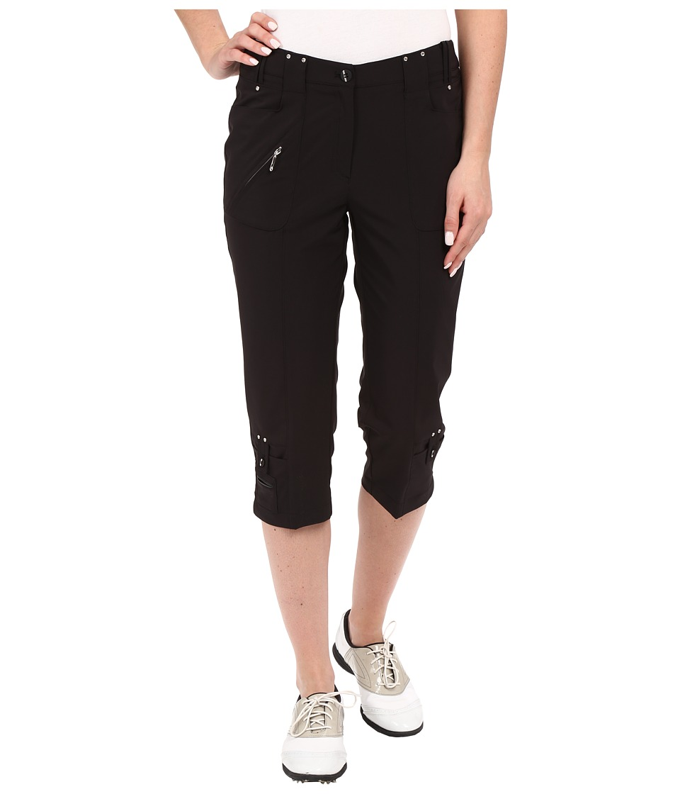 Jamie Sadock Airwear Light Weight 28.5 Pedal Pusher w/ Front Zipper and Button Closure Jet Black Womens Capri