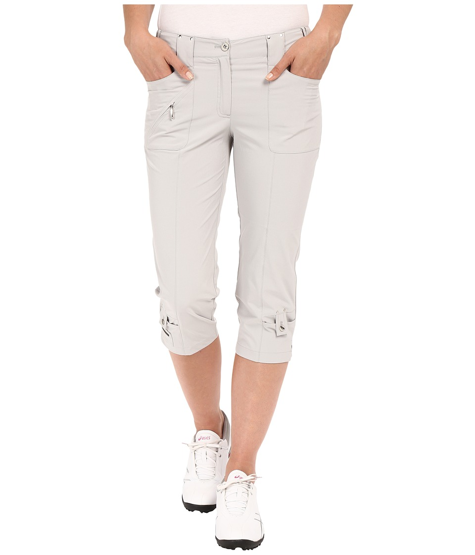 Jamie Sadock Airwear Light Weight 28.5 Pedal Pusher w/ Front Zipper and Button Closure Dove Grey Womens Capri