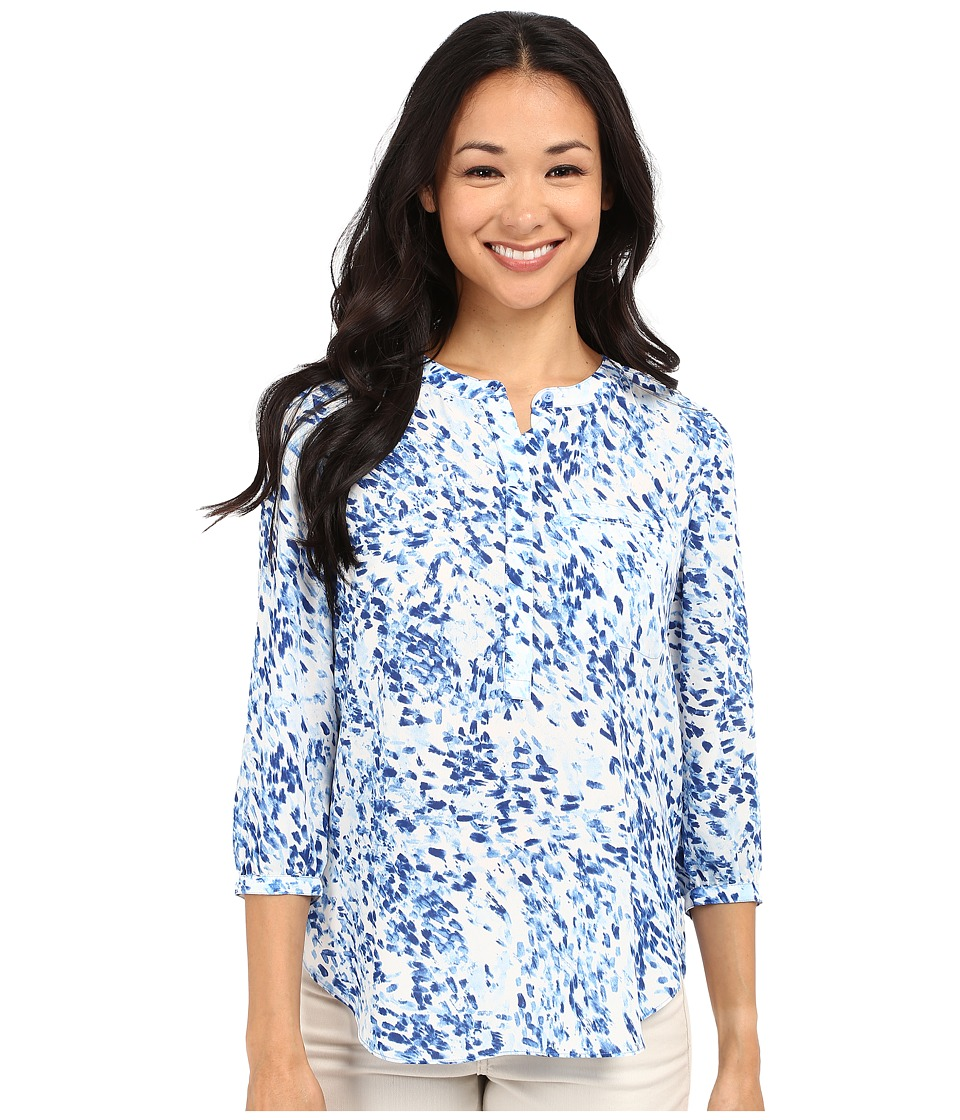 NYDJ Petite Petite 3/4 Sleeve Pleat Back Solid Sumi Splash Blue Wave Womens Blouse