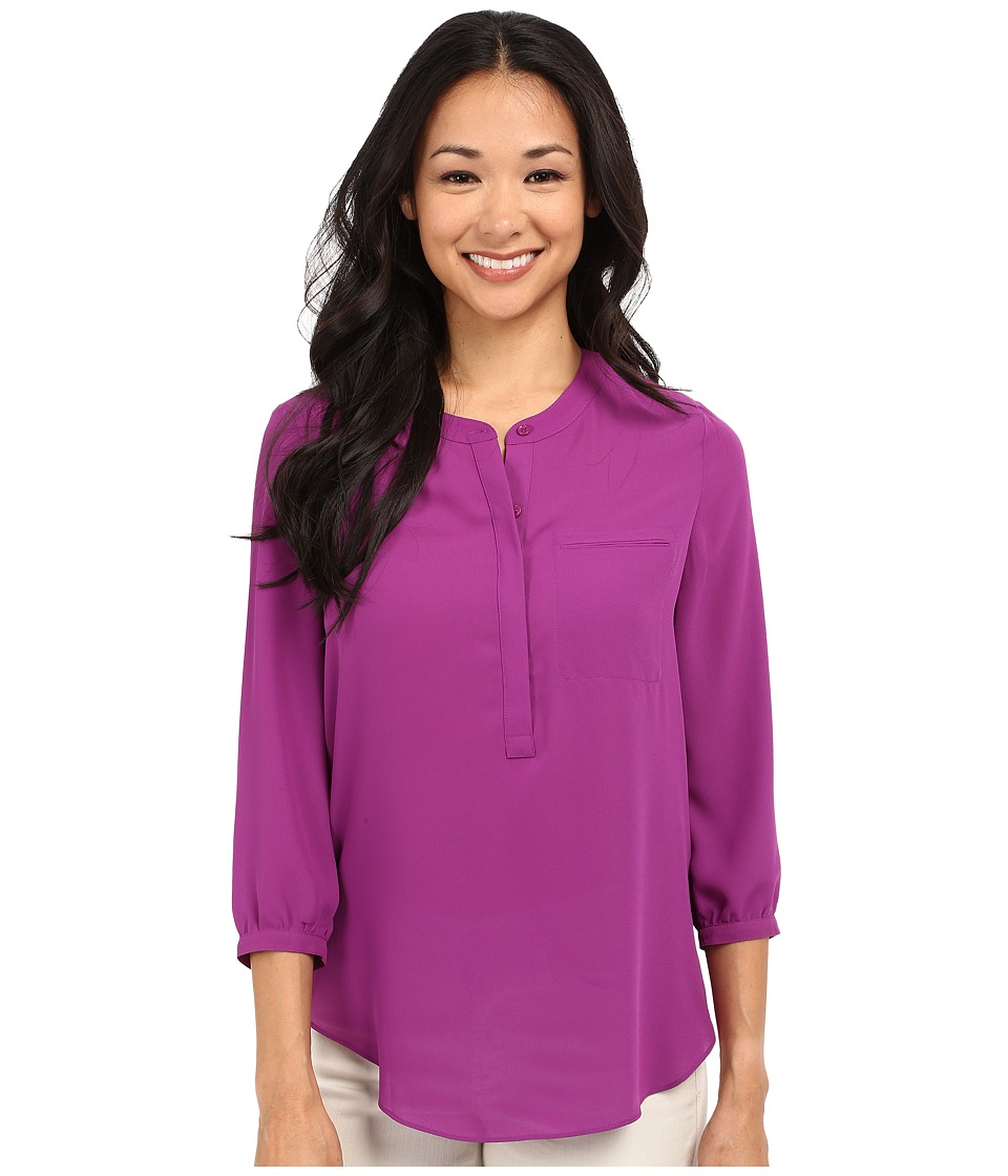 NYDJ Petite Petite 3/4 Sleeve Pleat Back Solid Violetta Womens Blouse