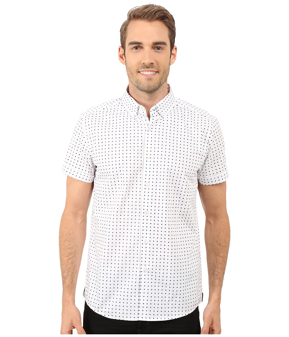 Kenneth Cole Sportswear Short Sleeve Button Down Collar X Print White Combo Mens Short Sleeve Button Up