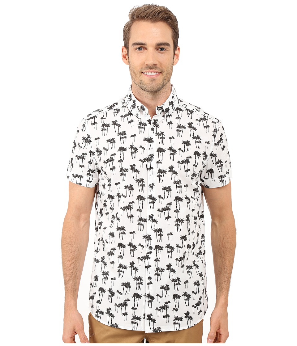 Kenneth Cole Sportswear Short Sleeve Palm Tree Print Shirt White Combo Mens Short Sleeve Button Up