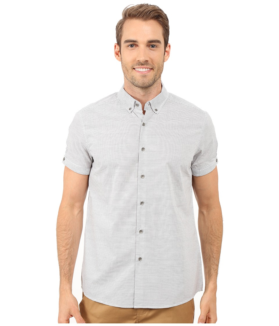 Kenneth Cole Sportswear Short Sleeve Button Down Collar Horizontal Stripe Black Combo Mens Short Sleeve Button Up